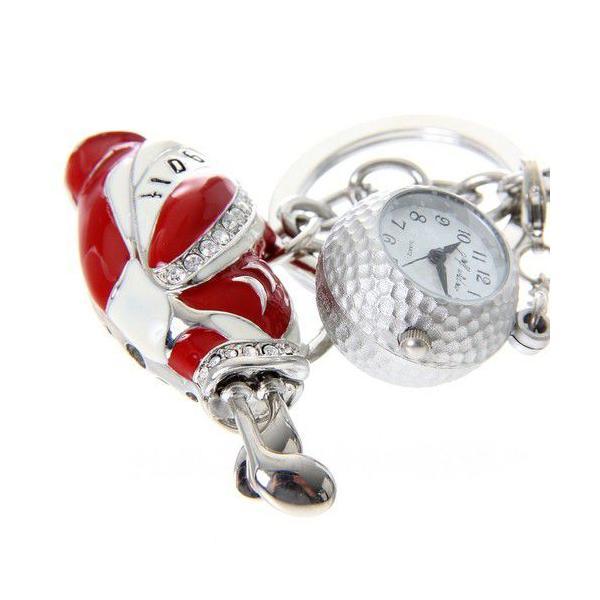 ゴルフバッグキーホルダー / キーチェーンウォッチ ゴルフボール型時計付 |izumigolf|02