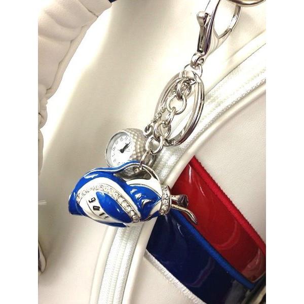 ゴルフバッグキーホルダー / キーチェーンウォッチ ゴルフボール型時計付 |izumigolf|05