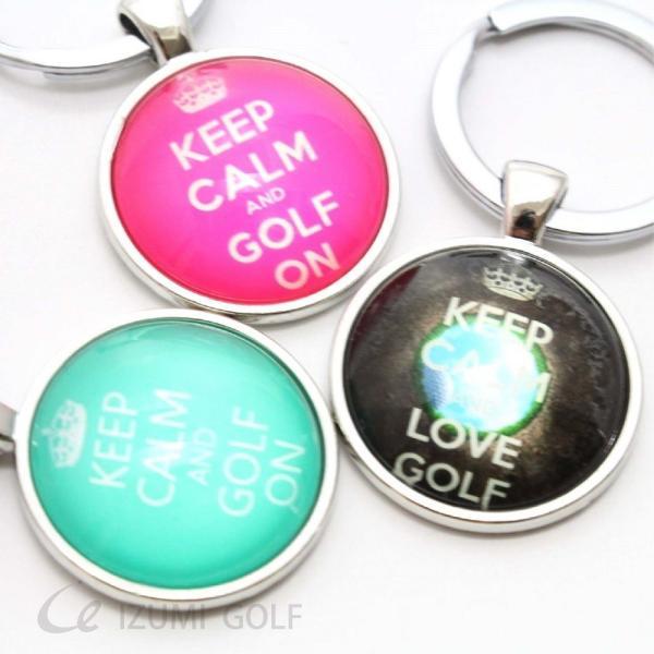 ゴルフ キーホルダー / キーリング ぷっくり ドーム型 グリーン・ブラウン・ピンク KEEP CALM AND GOLF ON ロゴキーホルダー|izumigolf|02