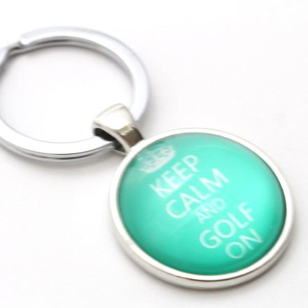 ゴルフ キーホルダー / キーリング ぷっくり ドーム型 グリーン・ブラウン・ピンク KEEP CALM AND GOLF ON ロゴキーホルダー|izumigolf|03