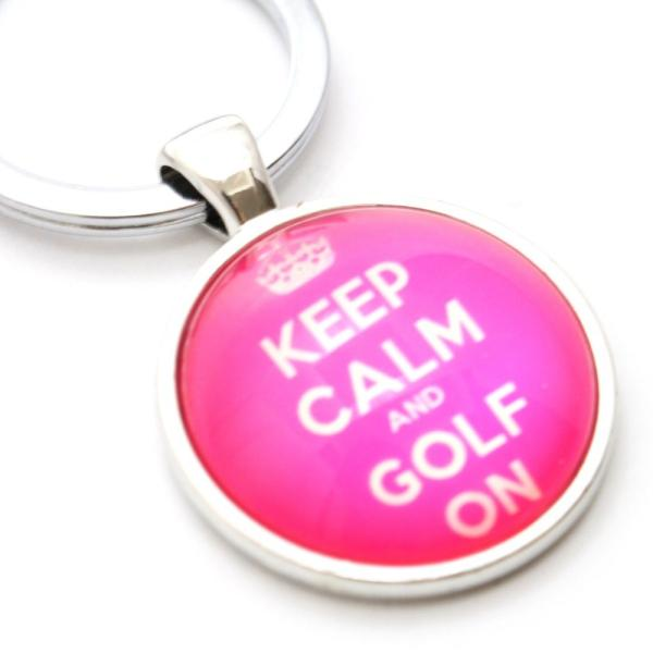 ゴルフ キーホルダー / キーリング ぷっくり ドーム型 グリーン・ブラウン・ピンク KEEP CALM AND GOLF ON ロゴキーホルダー|izumigolf|05