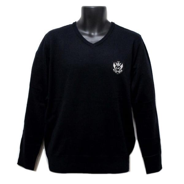 メンズ  Vネックセーター ウォッシャブルニット ゴルフワッペン シンプル ブラック|izumigolf