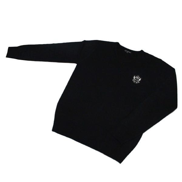 メンズ  Vネックセーター ウォッシャブルニット ゴルフワッペン シンプル ブラック|izumigolf|02
