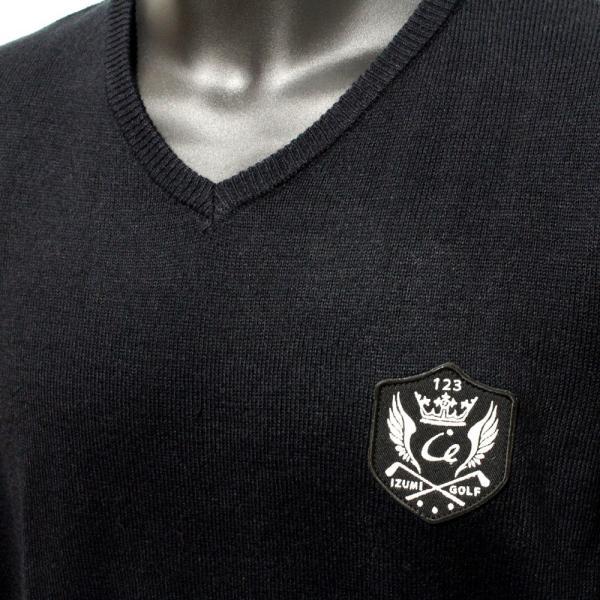 メンズ  Vネックセーター ウォッシャブルニット ゴルフワッペン シンプル ブラック|izumigolf|03