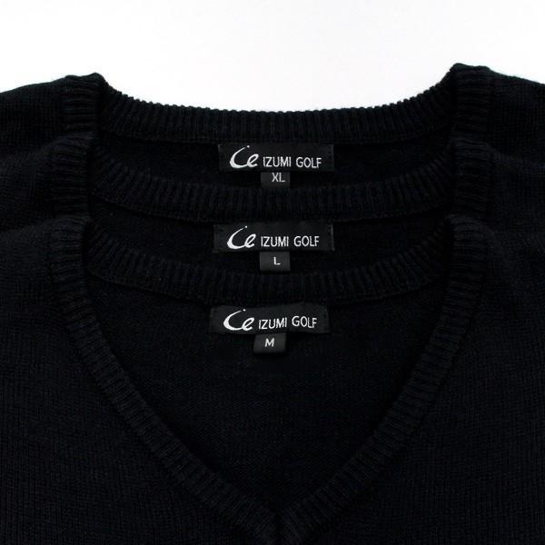 メンズ  Vネックセーター ウォッシャブルニット ゴルフワッペン シンプル ブラック|izumigolf|06