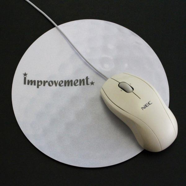 ゴルフボール型 マウスパッド 直径180mmx厚み3mm ホワイト izumigolf