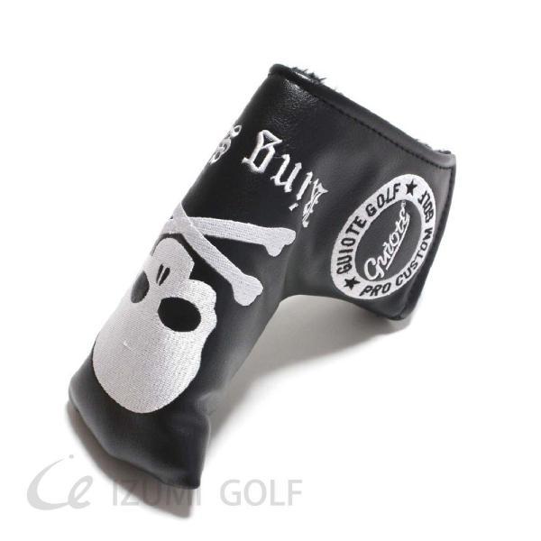ゴルフ パターカバー PUレザー スカル Skull 刺繍 ホワイト・ブラック GUIOTE|izumigolf|03