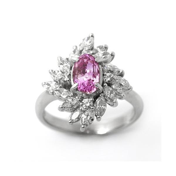 サファイア パパラチアサファイア ダイヤモンド プラチナ 9月の誕生石 1.85ct 1.21ct