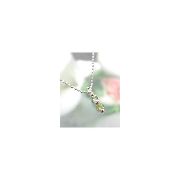 ホワイトゴールド 誕生石ネックレス ペリドット 8月  K18WG製 ダイアモンド 送料無料|j-kimura