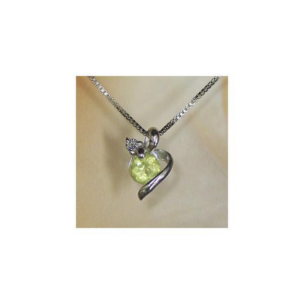 ホワイトゴールド 誕生石 ネックレス 8月 ペリドット ダイヤモンド ペンダント K10WG 幸せをはこぶ誕生石  記念日 誕生日|j-kimura