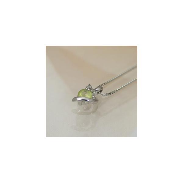 ホワイトゴールド 誕生石 ネックレス 8月 ペリドット ダイヤモンド ペンダント K10WG 幸せをはこぶ誕生石  記念日 誕生日|j-kimura|03