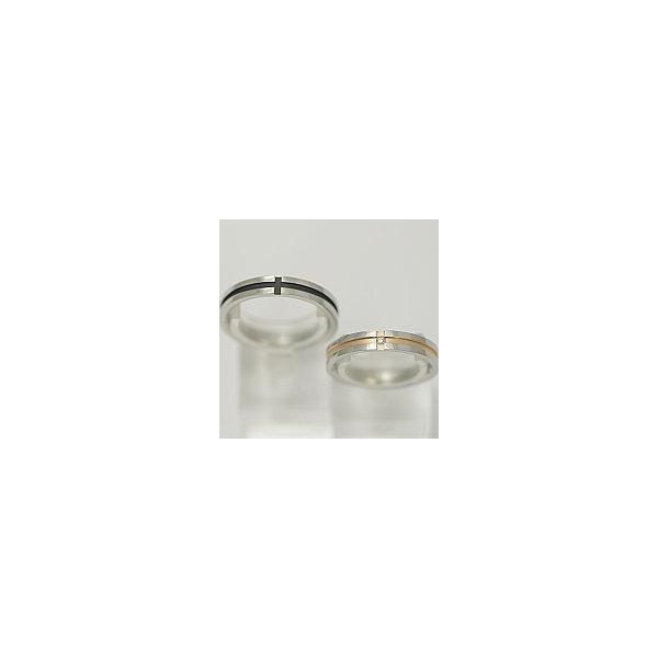 ペアリング ステンレススチール - vie -レディース販売 ピンククロスにダイヤモンド 正規取扱品 刻印可能  - vie -BOX・バッグ付 送料無料