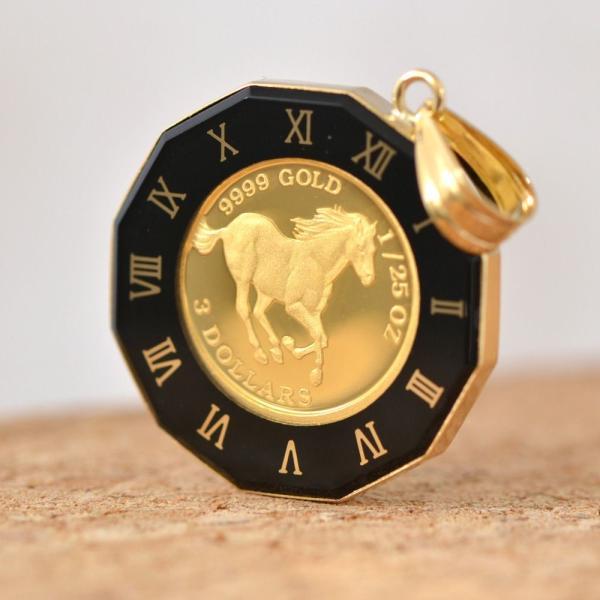 ホース馬/クイーンエリザベスII コインペンダントトップ 純金 24金 K24 24K 枠 18金 K18 18K 1/25 OZ  プレゼント 誕生日 ジュエリー アクセサリー