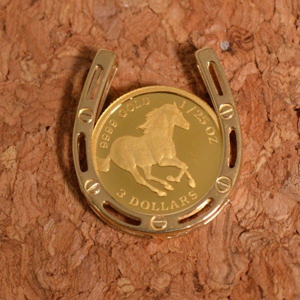 コインペンダント 馬 ホース 馬蹄 ホースシュー クイーンエリザベス II  コイン ペンダント 24金 枠 18金 1/25オンス