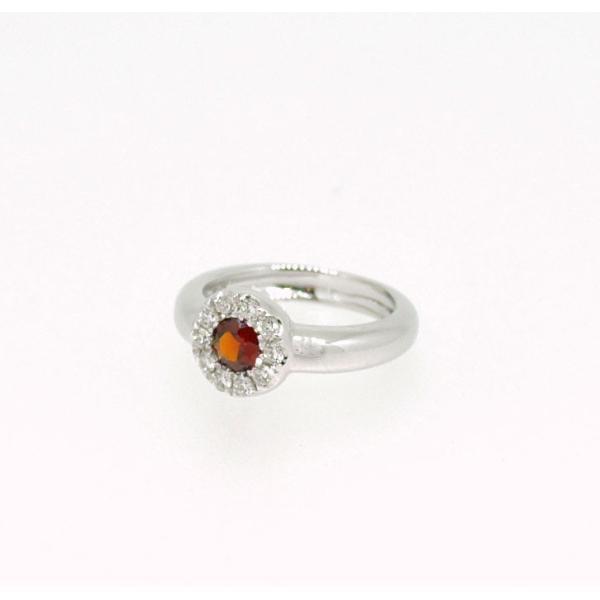 Baby Ring1月 K18WG ガーネットとダイヤのベビーリング(ネックレス、保証書、箱付き)|j-lumiere|02