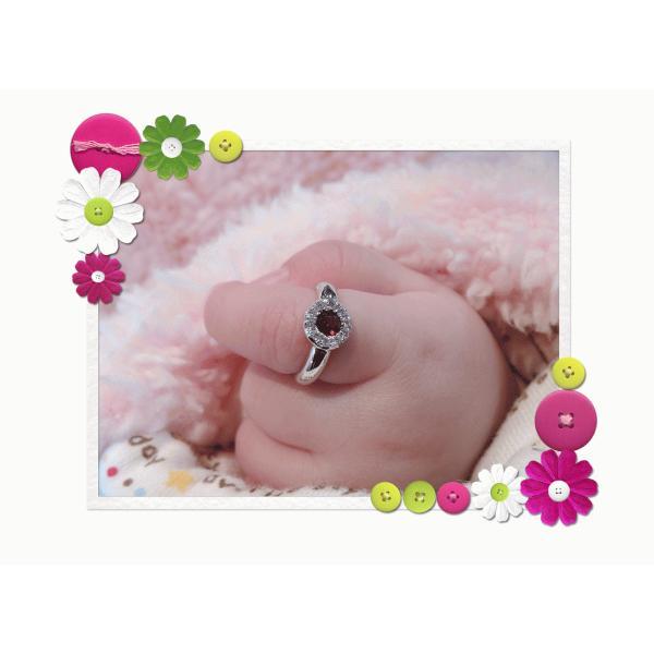 Baby Ring1月 K18WG ガーネットとダイヤのベビーリング(ネックレス、保証書、箱付き)|j-lumiere|06