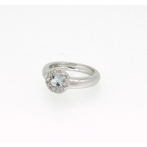 Baby Ring3月 K18WG アクアマリンとダイヤのベビーリング(ネックレス、保証書、箱付き)|j-lumiere|02