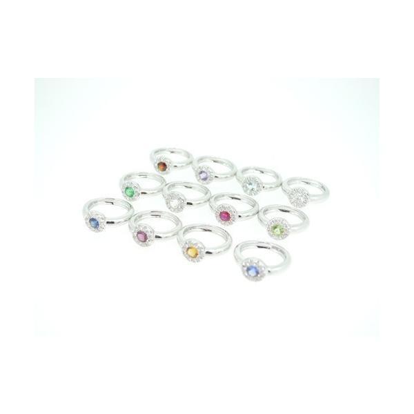 Baby Ring3月 K18WG アクアマリンとダイヤのベビーリング(ネックレス、保証書、箱付き)|j-lumiere|03