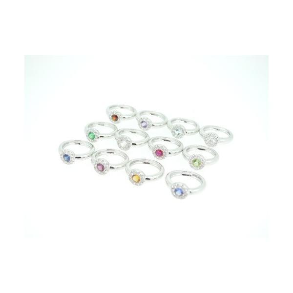 Baby Ring6月 K18WG ムーンストーンとダイヤのベビーリング(ネックレス、保証書、箱付き)|j-lumiere|03