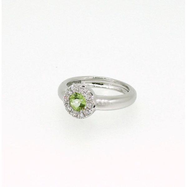 Baby Ring8月 K18WG ペリドットとダイヤのベビーリング(ネックレス、保証書、箱付き)|j-lumiere|02