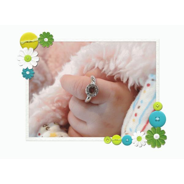 Baby Ring8月 K18WG ペリドットとダイヤのベビーリング(ネックレス、保証書、箱付き)|j-lumiere|06