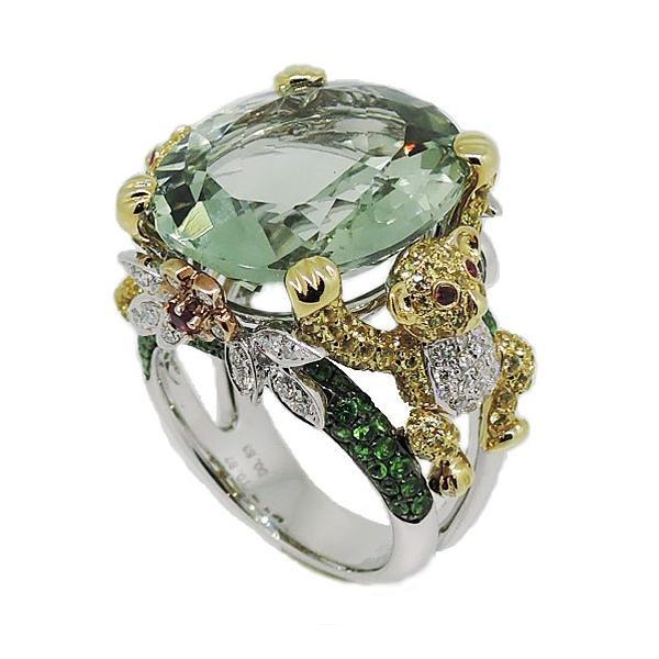 K18WG グリーンアメシスト ダイヤモンド リング|j-lumiere