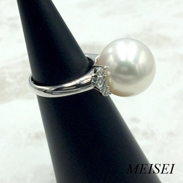 南洋真珠 リング 10.5号 レディース Pt900 14mm ダイヤモンド 0.40ct リング 指輪