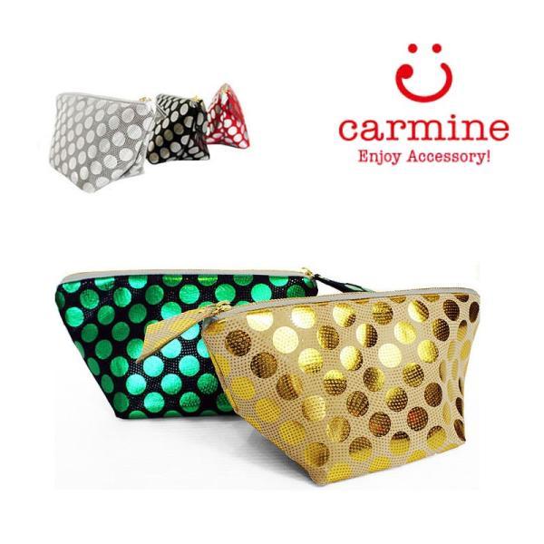 carmine カーマイン レザー ポーチ 小物入れ レディース メタリックドット 箔プリント化粧ポーチ model-no DP