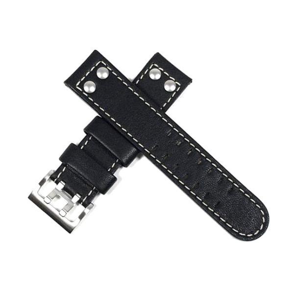 ハミルトン純正ベルト22mm/カーキオフィサーオート用ブラックカーフベルトH600706100|j-tajima
