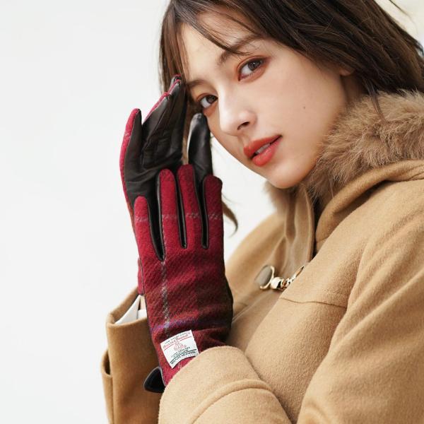 手袋 レディース ラム革 スマホ 対応 グローブ 全7色 ハリスツイード 手ぶくろ [ネコポスで送料無料]|j-white