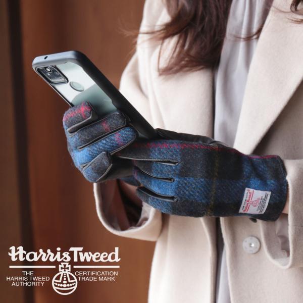 手袋 レディース ラム革 スマホ 対応 グローブ 全7色 ハリスツイード 手ぶくろ [ネコポスで送料無料]|j-white|02