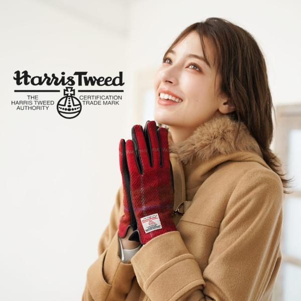 手袋 レディース ラム革 スマホ 対応 グローブ 全7色 ハリスツイード 手ぶくろ [ネコポスで送料無料]|j-white|14