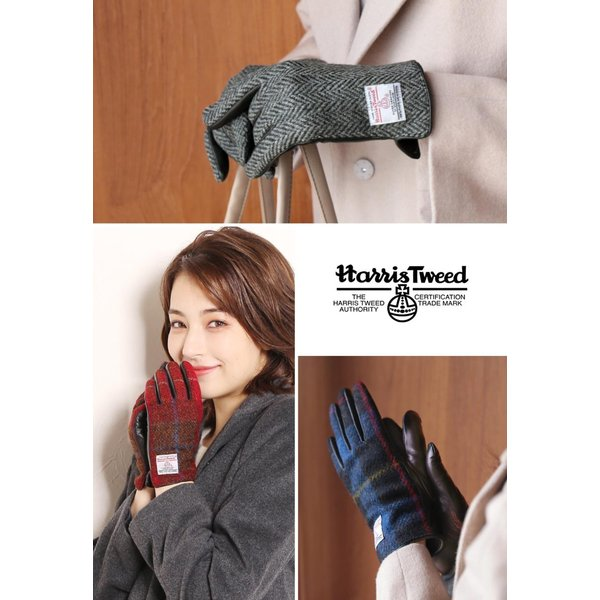 手袋 レディース ラム革 スマホ 対応 グローブ 全7色 ハリスツイード 手ぶくろ [ネコポスで送料無料]|j-white|03