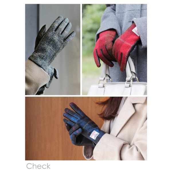 手袋 レディース ラム革 スマホ 対応 グローブ 全7色 ハリスツイード 手ぶくろ [ネコポスで送料無料]|j-white|06