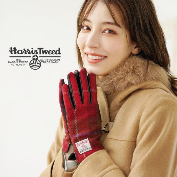 手袋 レディース ラム革 スマホ 対応 グローブ 全7色 ハリスツイード 手ぶくろ [ネコポスで送料無料]|j-white|08