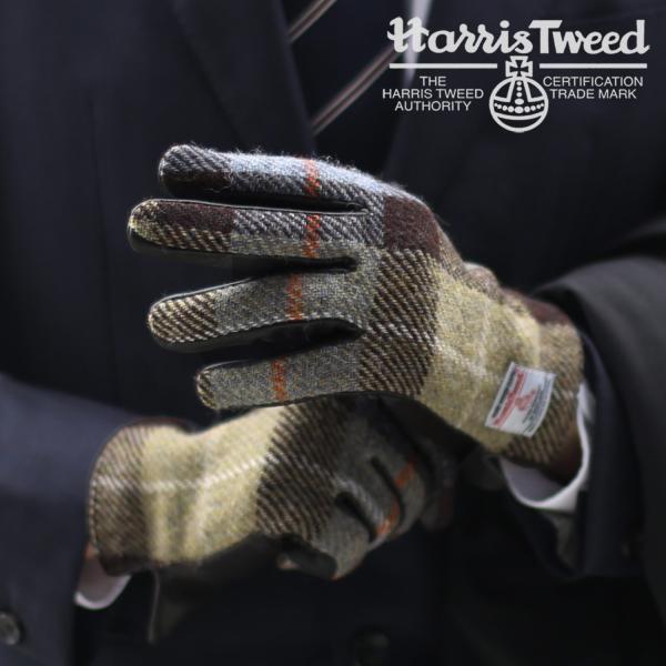 ハリスツイード 手袋 メンズ ラム革 スマホ 対応 グローブ 全7色 チェック/ヘリンボーン[ネコポスで送料無料] (No.05000046r)[名入れ 可能]