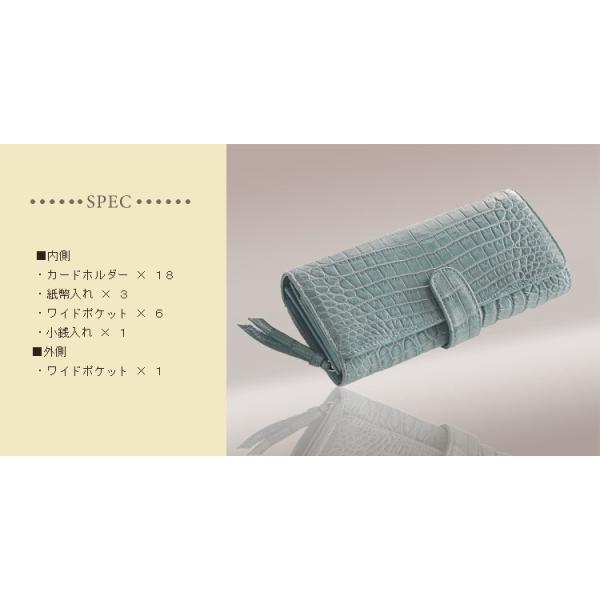 クロコダイル長財布 マット加工 かぶせ ベロ付き / レディース