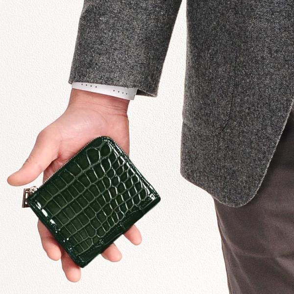 クロコダイルシャイニングヘンローンL字ファスナーコンパクト財布(No.06000762-mens-1)『ギフト』