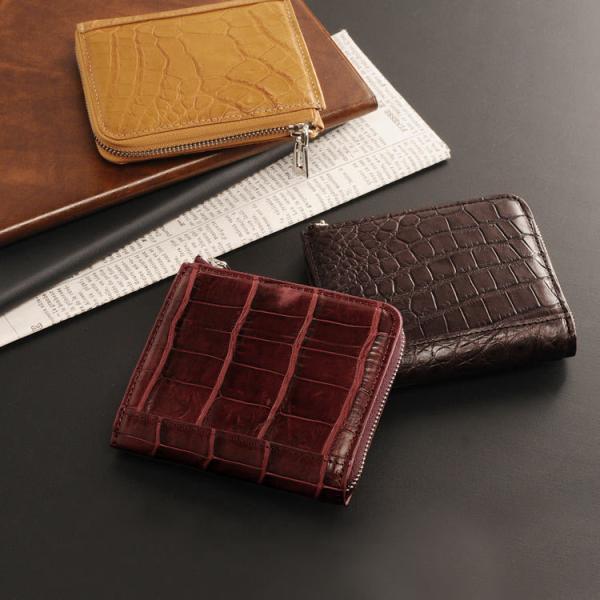 コンパクト財布クロコダイルマットL字ファスナーメンズ革小物ミニ財布『ギフト』