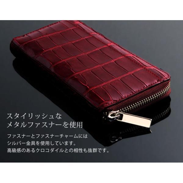 長財布 メンズ 本革 レザー ラウンドファスナー クロコダイル シャイニング 日本製 JRA カードが12枚入る 全6色 送料無料 (No.06001148-mens-1)|j-white|09