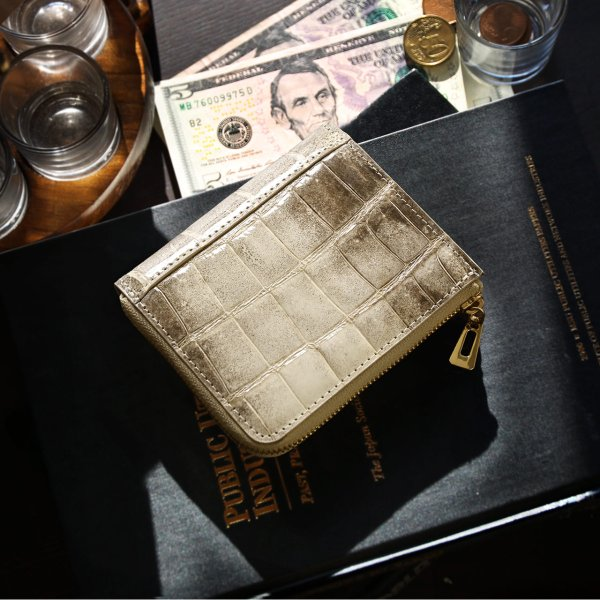 ヒマラヤクロコダイルL字ファスナーコンパクト財布シャイニング加工メンズミニ小さい小型『ギフト』