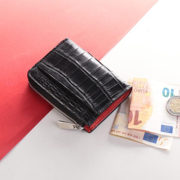 クロコダイルメンズコンパクト財布ICカード入れ付きマット加工L字ファスナー本革『ギフト』(06001592-mens-1r)