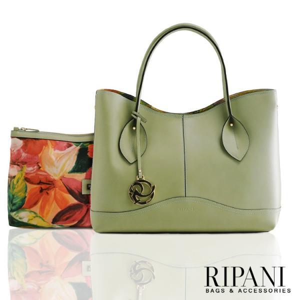 [RIPANI] リパーニ イタリア製 トートバッグ 本革 バッグインバッグ フラワープリント 2WAY / レディース  A4 通勤バッグ|j-white