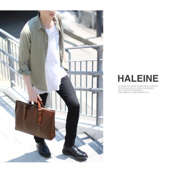 HALEINE[アレンヌ] 牛革 ビジネス バッグ 大 2way 日本製 ヌメ革 ハンドル ステッチ デザイン / メンズ A4 通勤バッグ ブランド ブランド|j-white|02