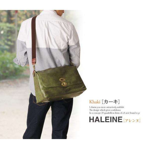 HALEINE [アレンヌ] アンティーク加工 牛革 ショルダーバッグ  日本製 メンズ 革小物 ブランド j-white 14