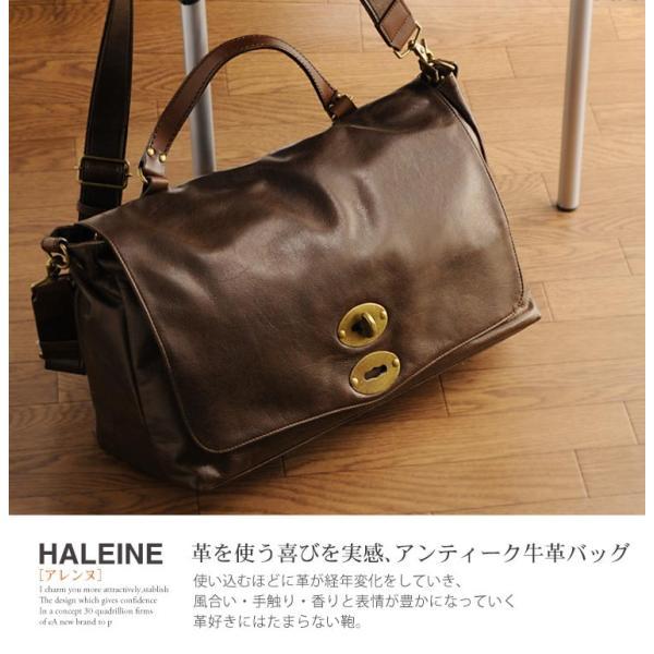 HALEINE [アレンヌ] アンティーク加工 牛革 ショルダーバッグ  日本製 メンズ 革小物 ブランド j-white 17