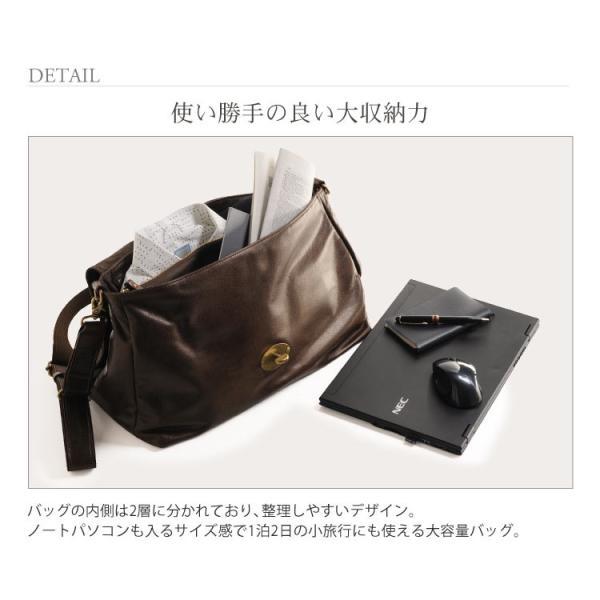HALEINE [アレンヌ] アンティーク加工 牛革 ショルダーバッグ  日本製 メンズ 革小物 ブランド j-white 05
