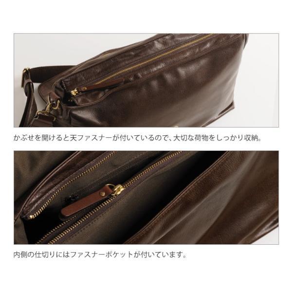 HALEINE [アレンヌ] アンティーク加工 牛革 ショルダーバッグ  日本製 メンズ 革小物 ブランド j-white 07