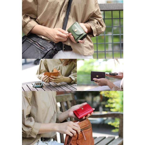 Jamale ジャマレ 日本製 ヌメ革 ミニ財布 コンパクトサイズ レディース(No.07000357)|j-white|11