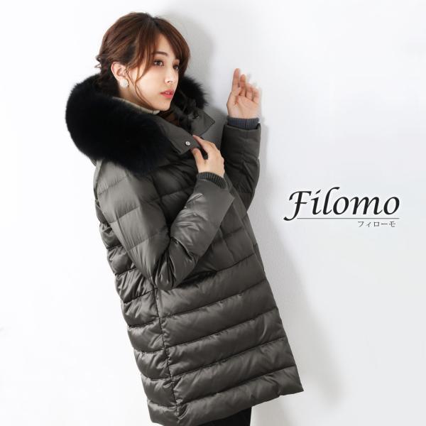Filomo ダウンコート レディース ファー トリミング ダウン 90% 大きいサイズ フード付き フォックス (No.08000141)|j-white